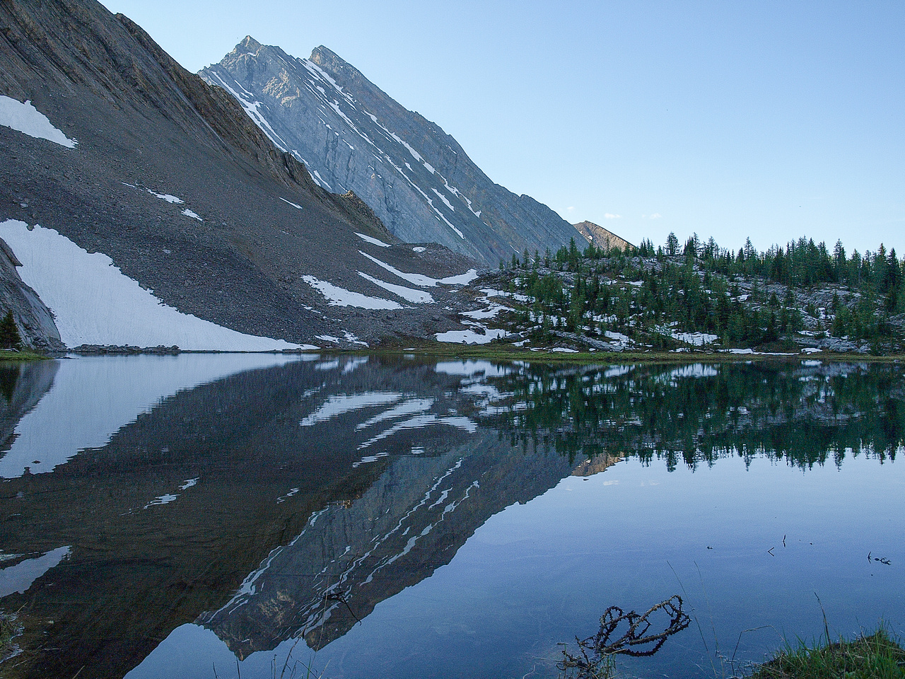 Looking back at Mount Chester and its reflection in a small tarn along the trail.