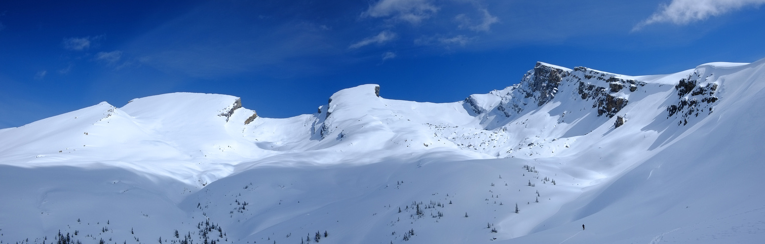 These slopes were probably the most hazardous. They are wind loaded but don't get much sun, which is a good thing.