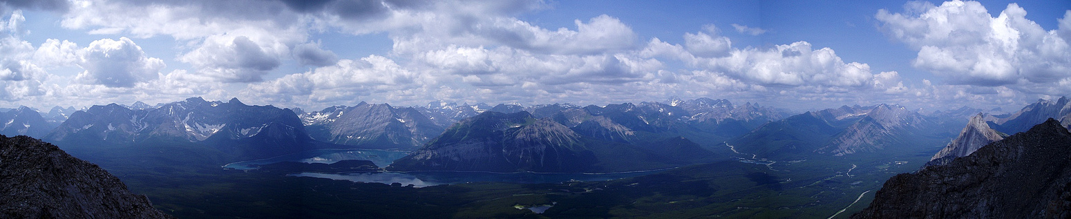 Panorama over the Kananaskis Lakes.
