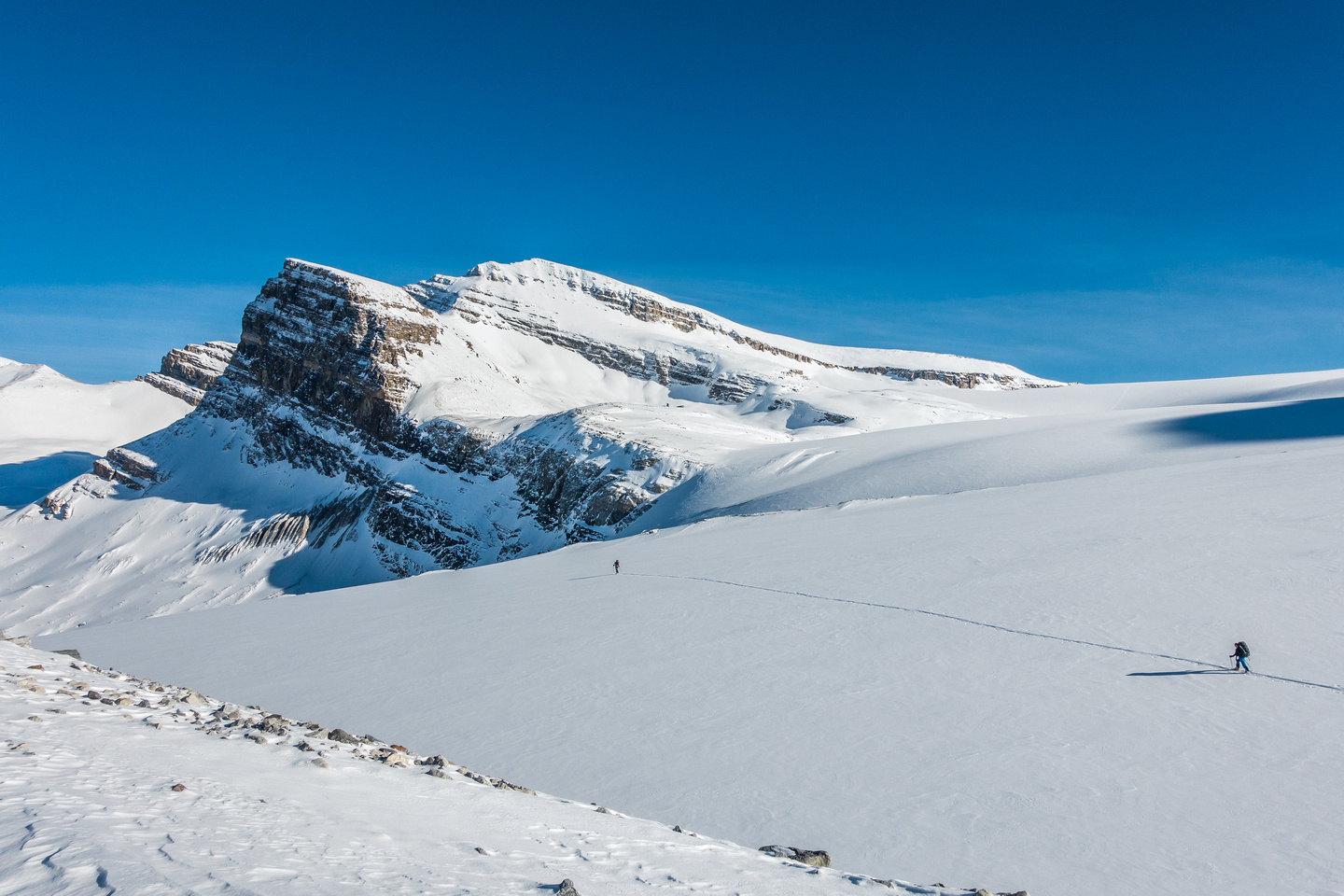 Skiing back down the Peyto Glacier in lengthening shadows.