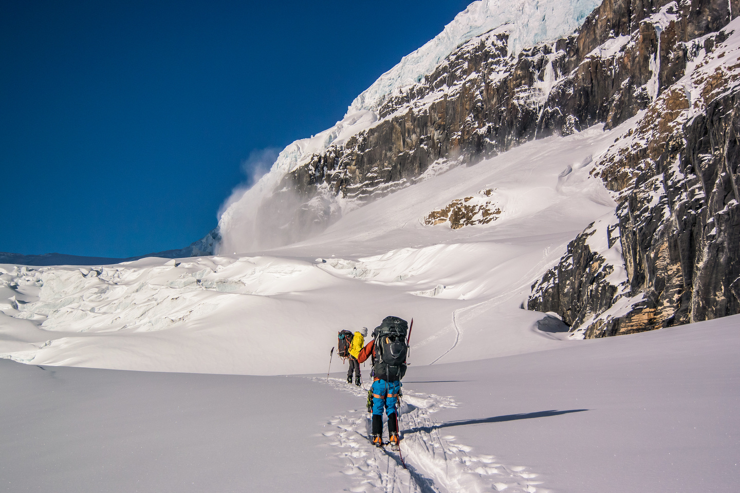 Approaching the Athabasca Headwall.