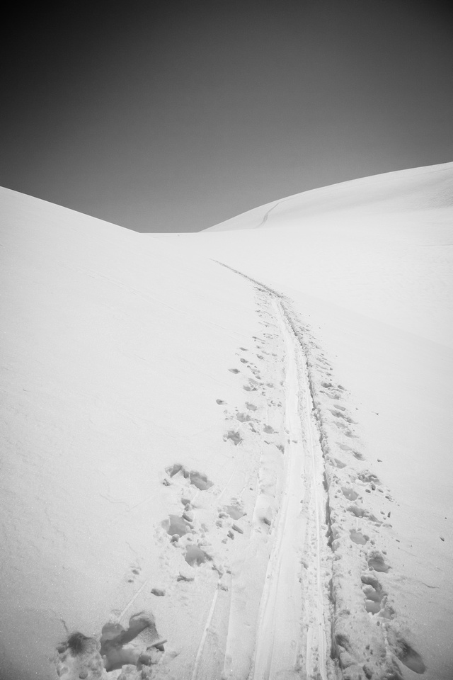 Following the skin track back up Stutfield on my solo ski back to camp.