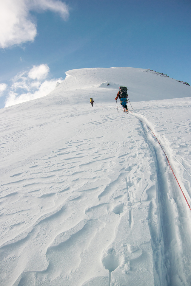 Skiing up the lower part of South Twin's north ridge. Great conditions with lots of snow.