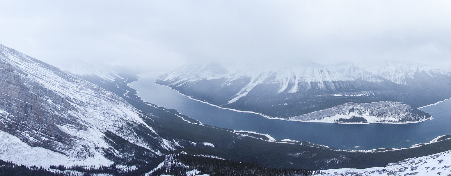 Pano from near the summit showing the entire Spray Lakes reservoir.