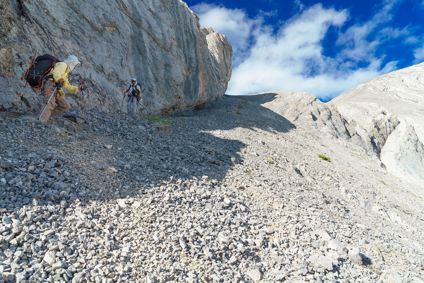 Looking back up the 'hidden' scree ramp descent from the spur. I have no idea how Dow found it but it works great.