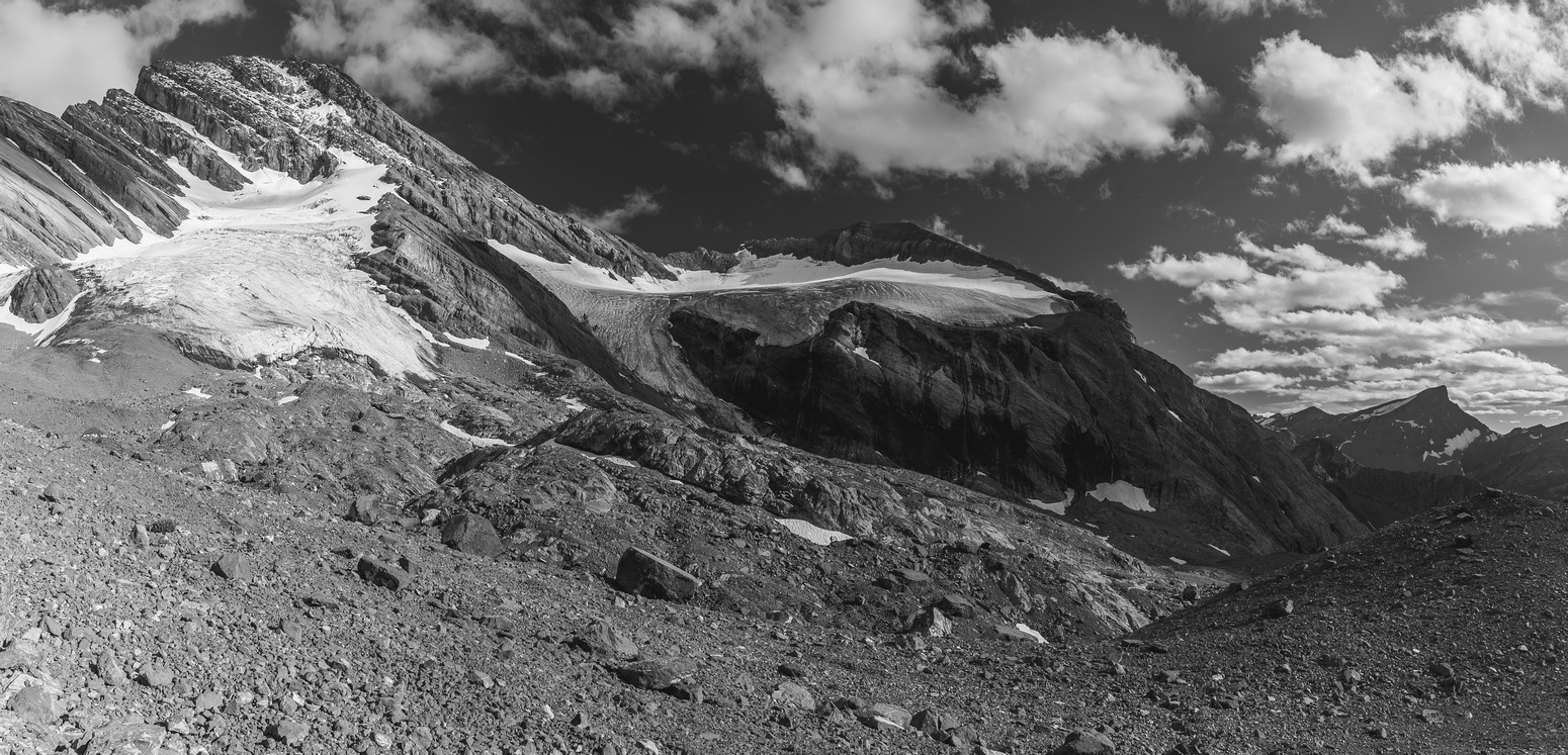 Late day lighting as we prepare to cross the moraines to our bivy - the two glaciers looking pretty bare.