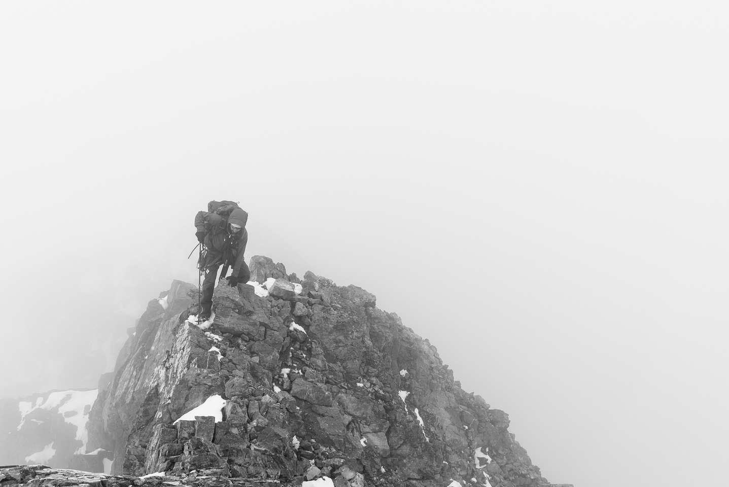 Ben approaches the summit of Mount Sir Douglas.