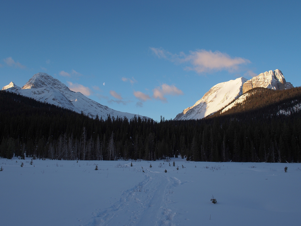 Starting our day from the Spray Lakes road skinning up Commonwealth Creek.