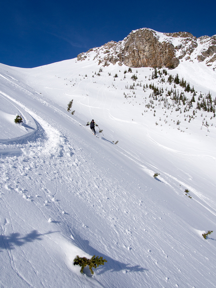 Skiing down the Emerald Slide Path.