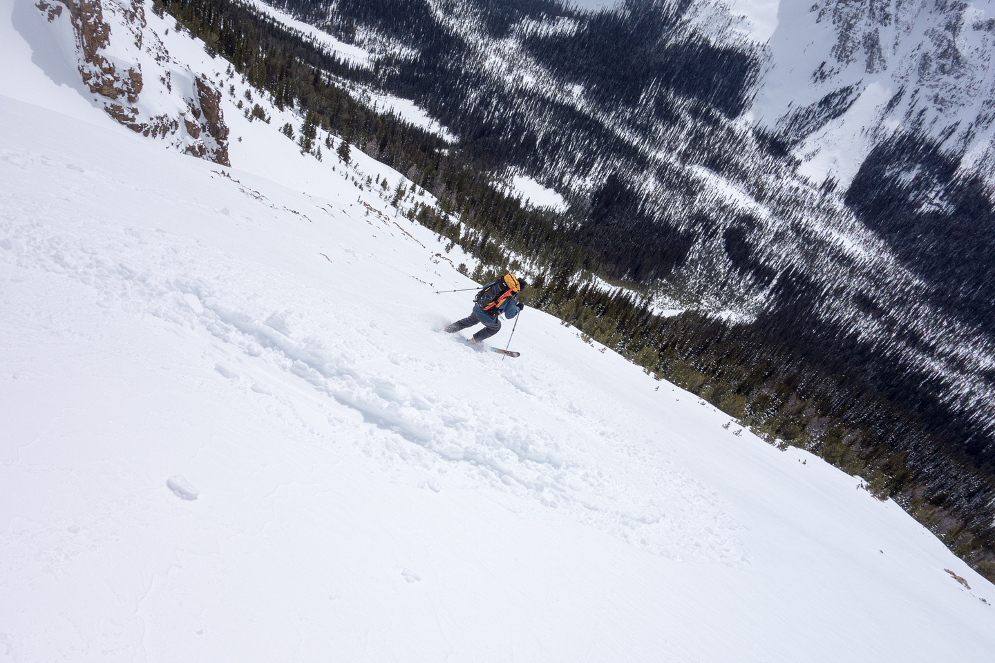 Skiing the lower avy slope.