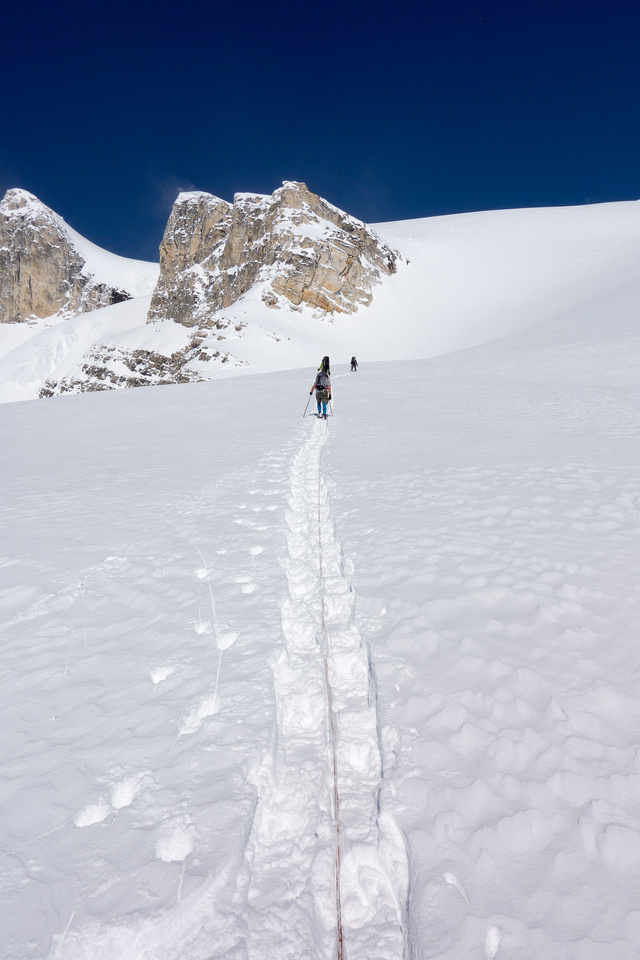 Ropes are on and the terrain is still steep enough!