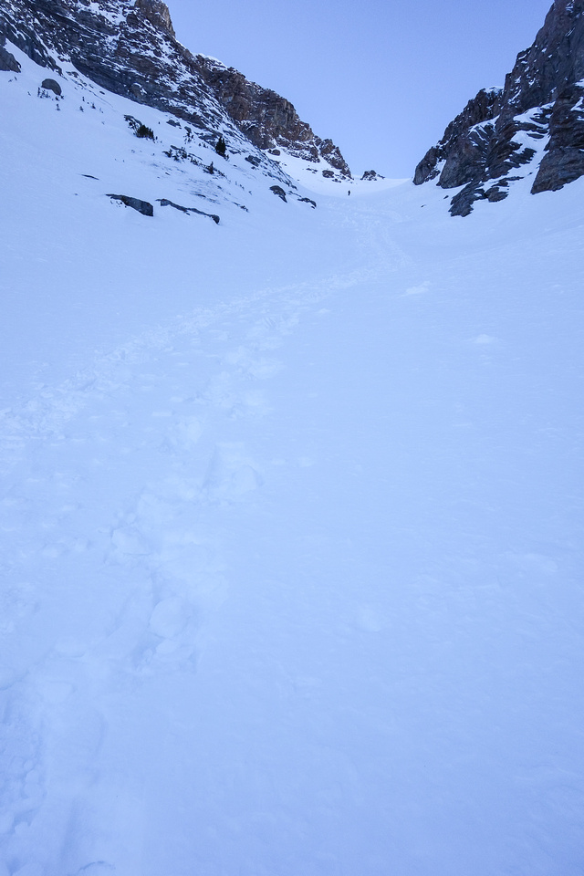 Looking back up the steepest part of the avy slope - note Eric coming down.