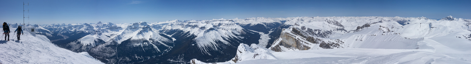 Summit pano includes many of the ice fields peaks and 11,00ers including Forbes, the Lyells, Bryce and Columbia.