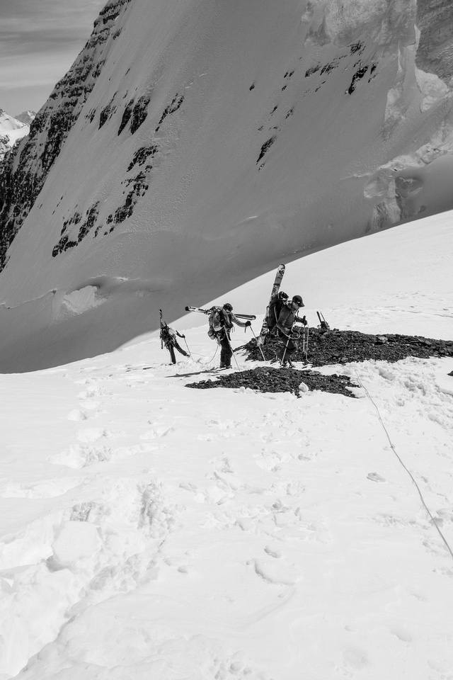 The team works it's way part way up the southwest ridge on North Twin.