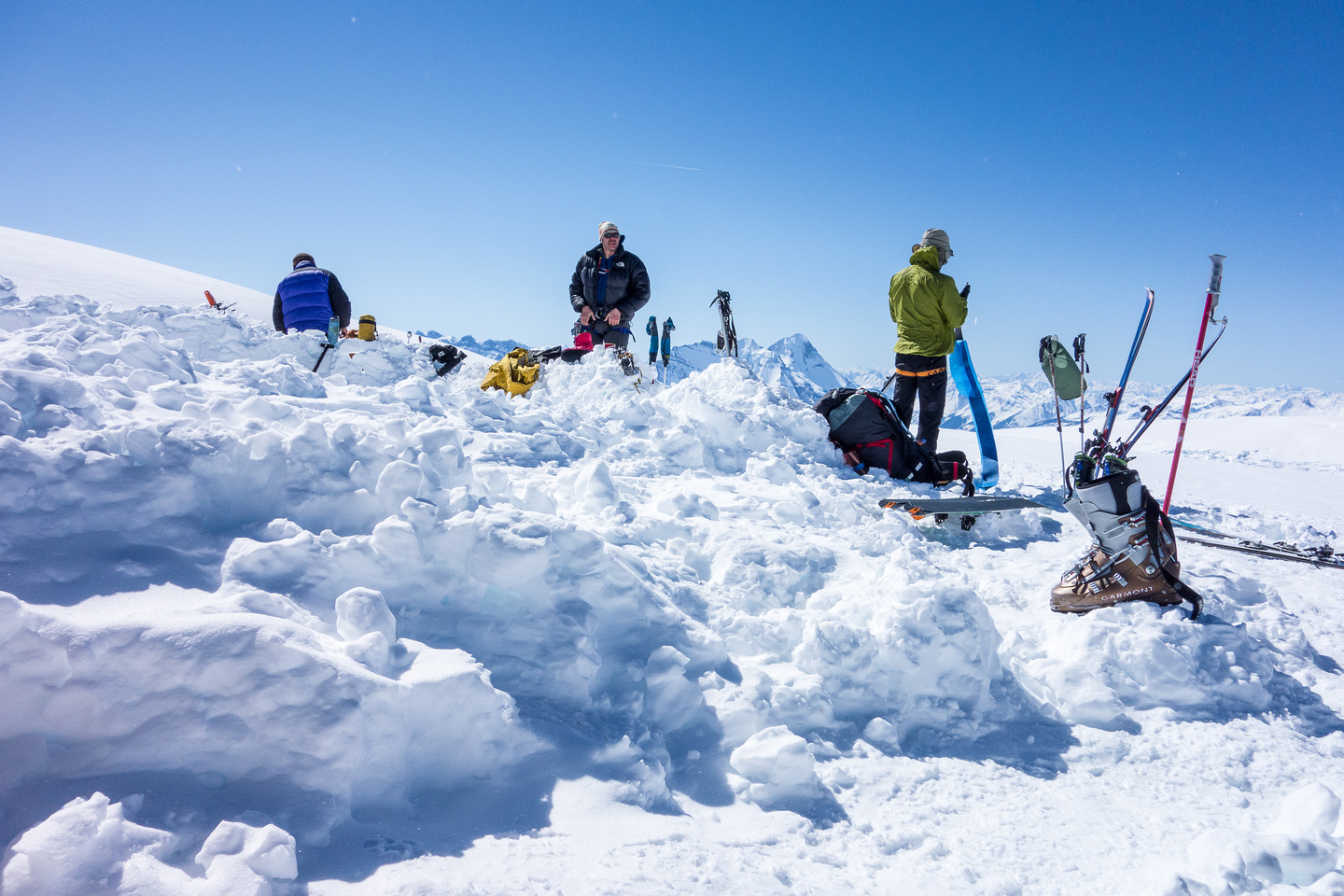 Packing up camp on the Columbia Icefield.