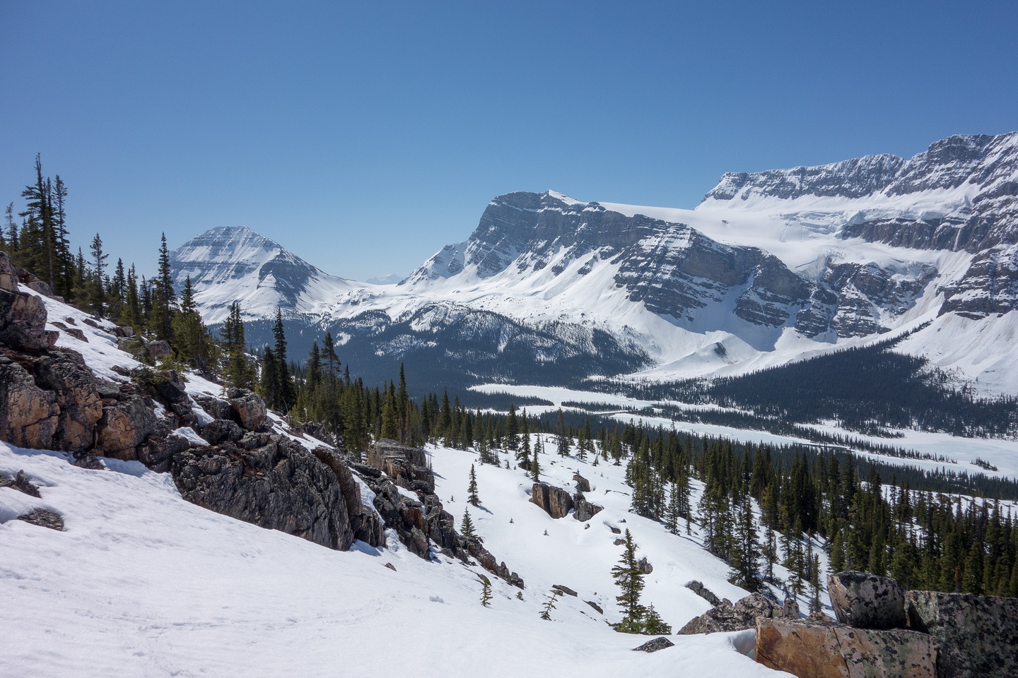 Bow Peak on the left and Crowfoot Mountain on the right with Crowfoot Pass between them.