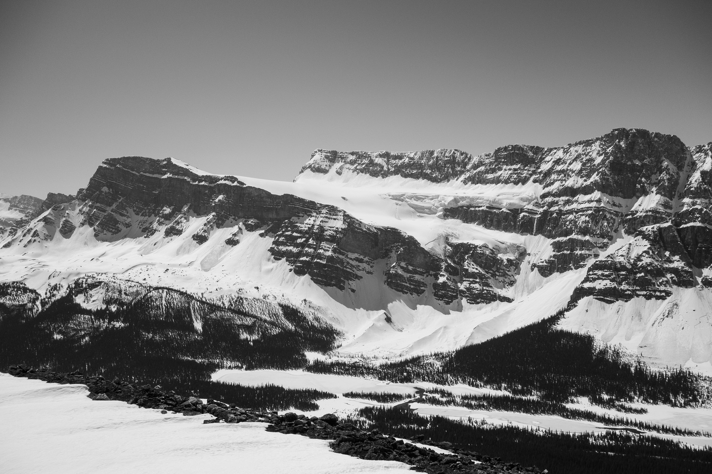 Unnamed and Crowfoot Mountain to the right with Crowfoot Glacier between.