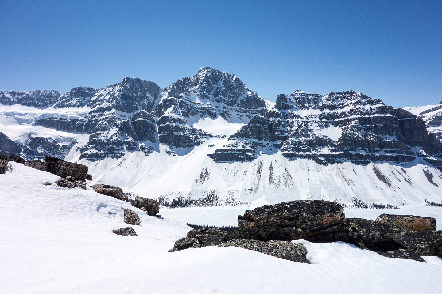 Avalanches were thundering down peaks in the area all afternoon. Look closely at the east side of Crowfoot Mountain.