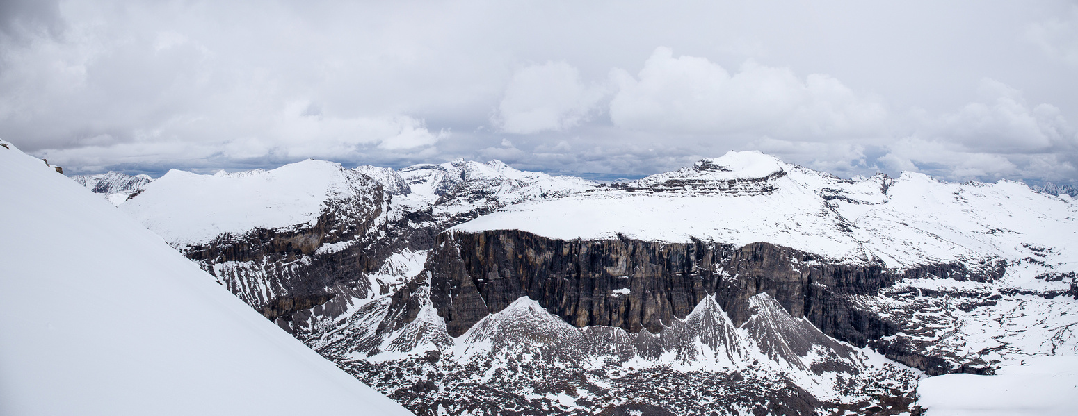 Pano of Pulsatilla Mountain from just below the summit of Armor Peak.