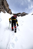 The final section to the ridge was fun - steeper with firmer snow and interesting terrain.
