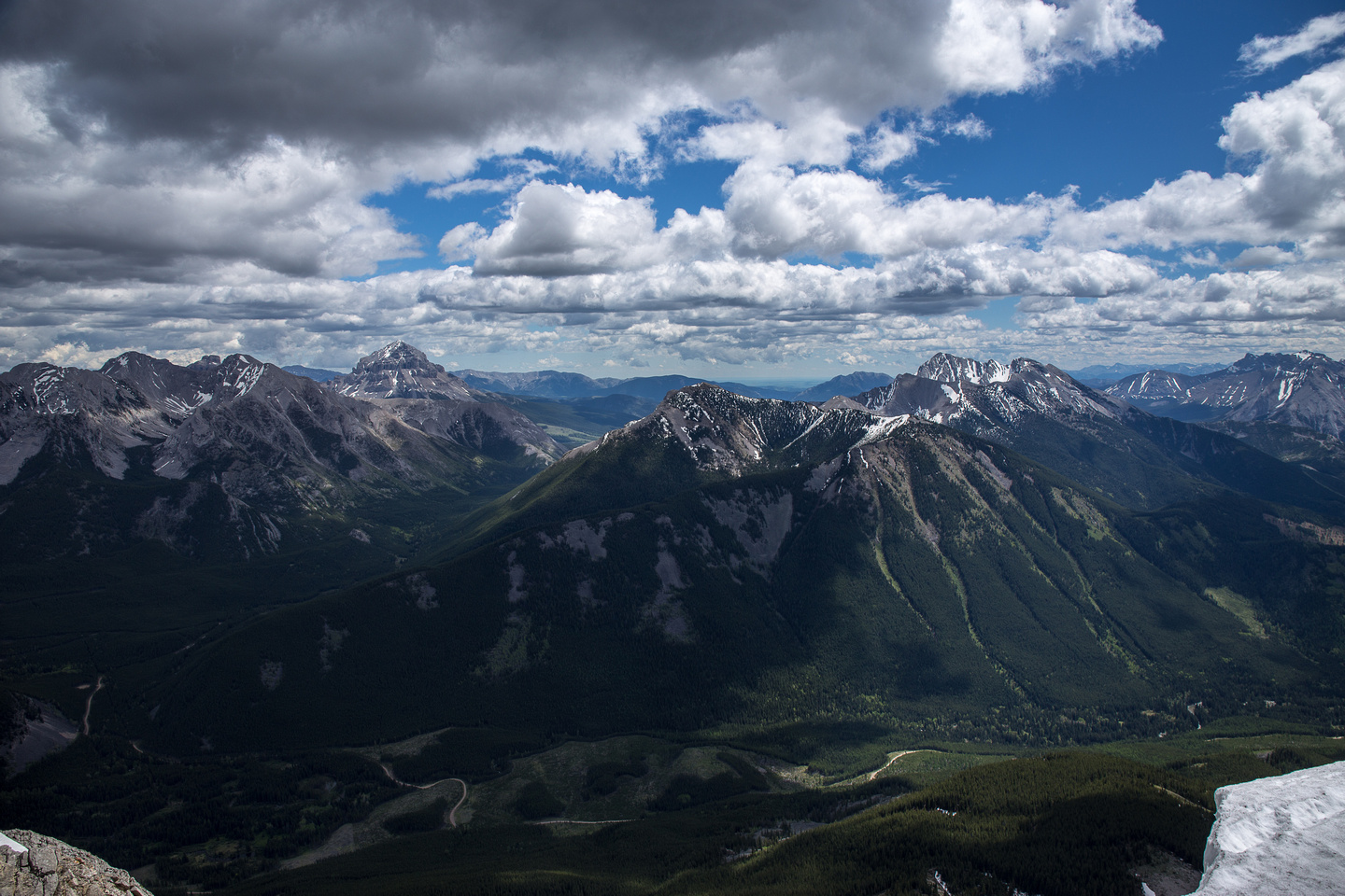 Crowsnest Mountain and Tecumseh and Phillips from the summit.