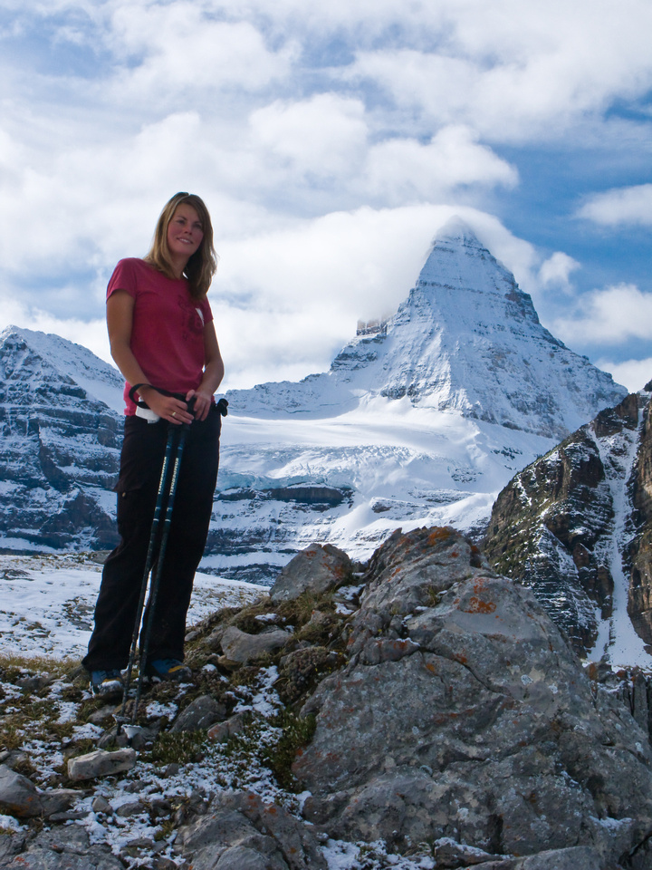 Hanneke with Assiniboine in the background.