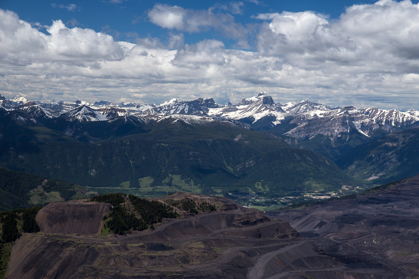 Looking over the massive Sparwood Mine towards the impressive form of Mount Washburn.