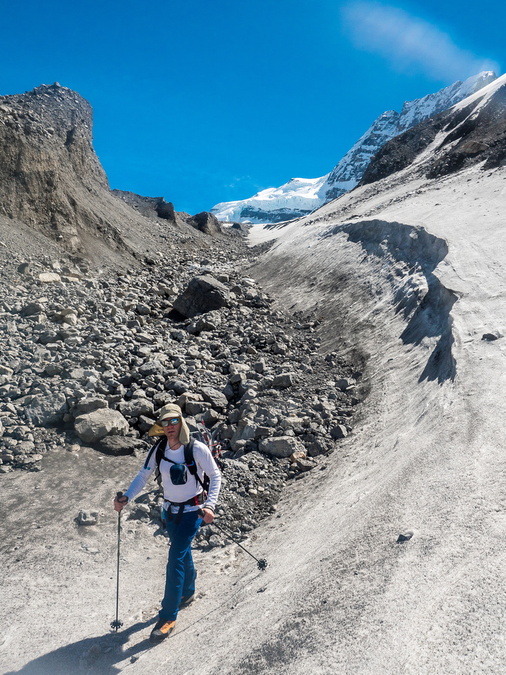 Off the North Glacier and descending through moraines towards the toe of the Mons and our bivy site.