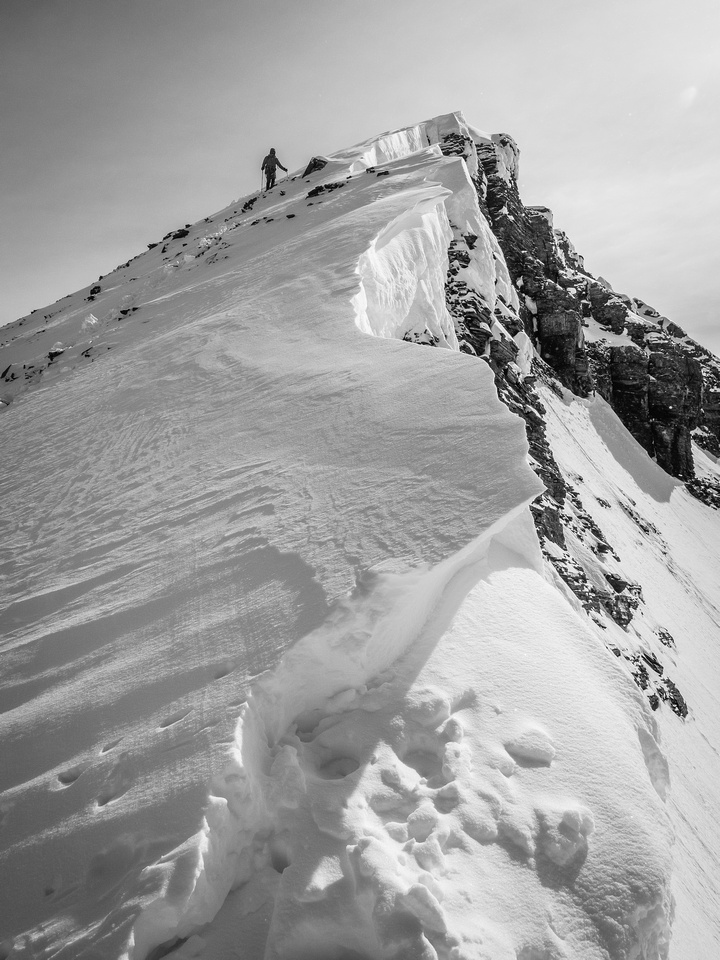 Looking back up the arete.