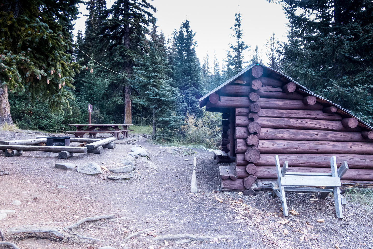 This shelter is much better than the open-walled shelters at Berg Lake and Whitehorn Campgrounds.