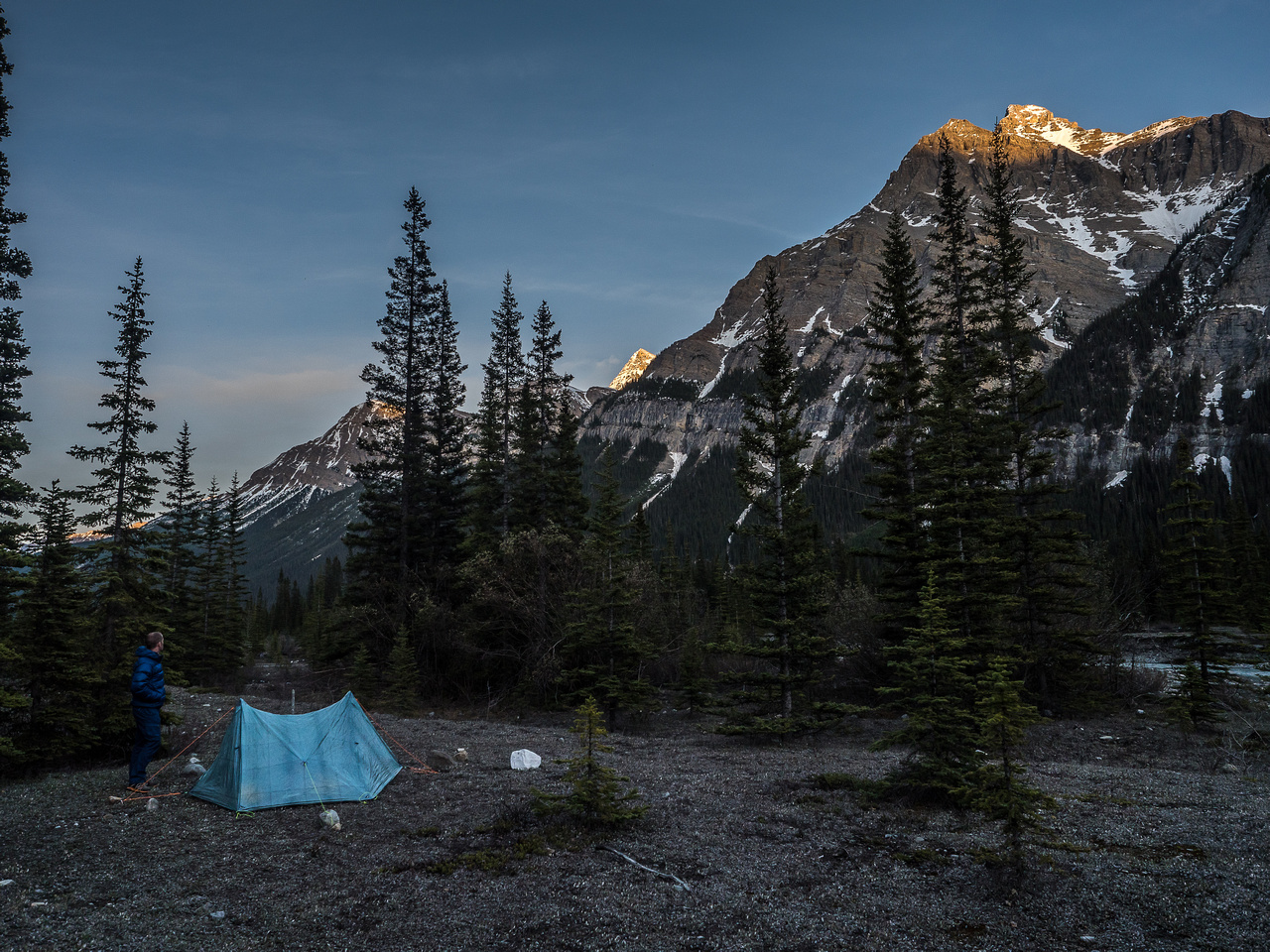 Anton takes in the rising sun from camp, early on Monday morning.