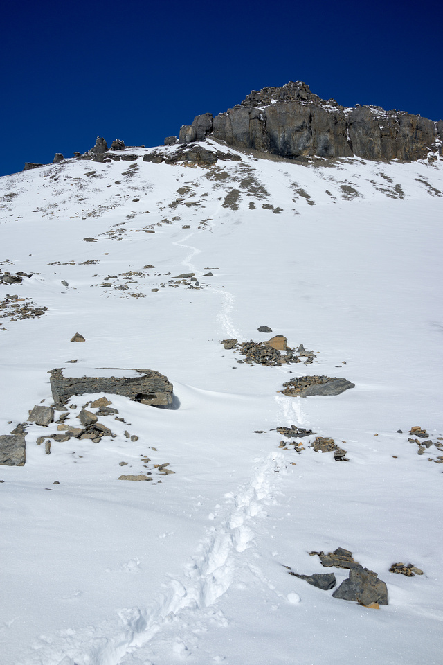 Looking back up at my tracks to the summit ridge. I can't believe how much the weather changed in a few hours up there!