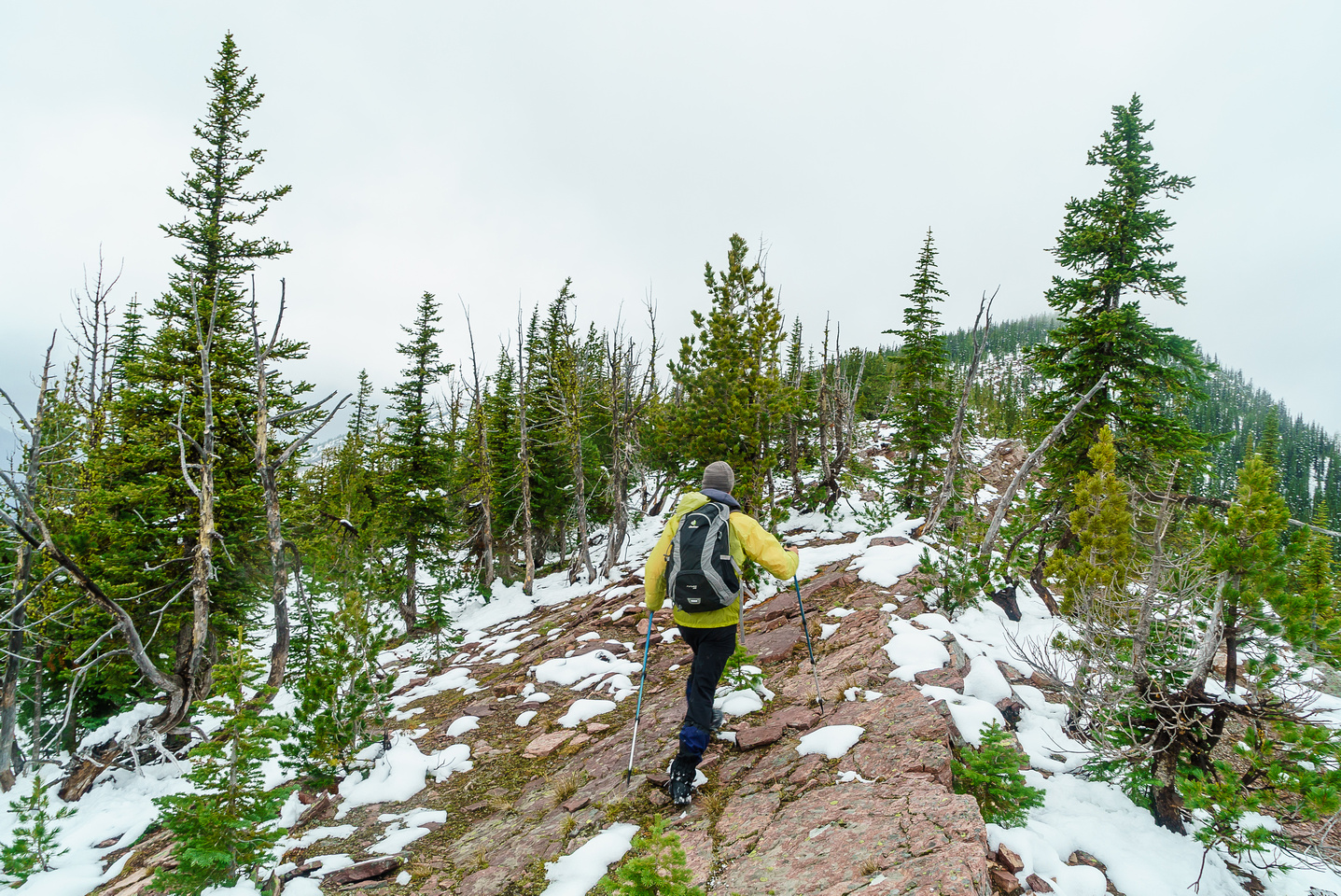 Sometimes we could stick right to the ridge, other times we had to drop down on climber's left to avoid nasty bits.