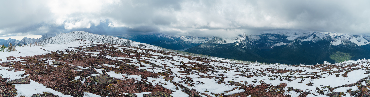 Cameron Lake in the distance with Akamina Ridge and Wall Lake. Summit of Rowe on the left.
