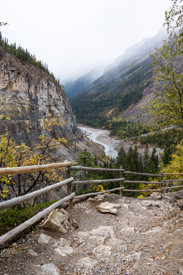 The most work on the Berg Lake trail was spent on the Valley of a Thousand Falls.