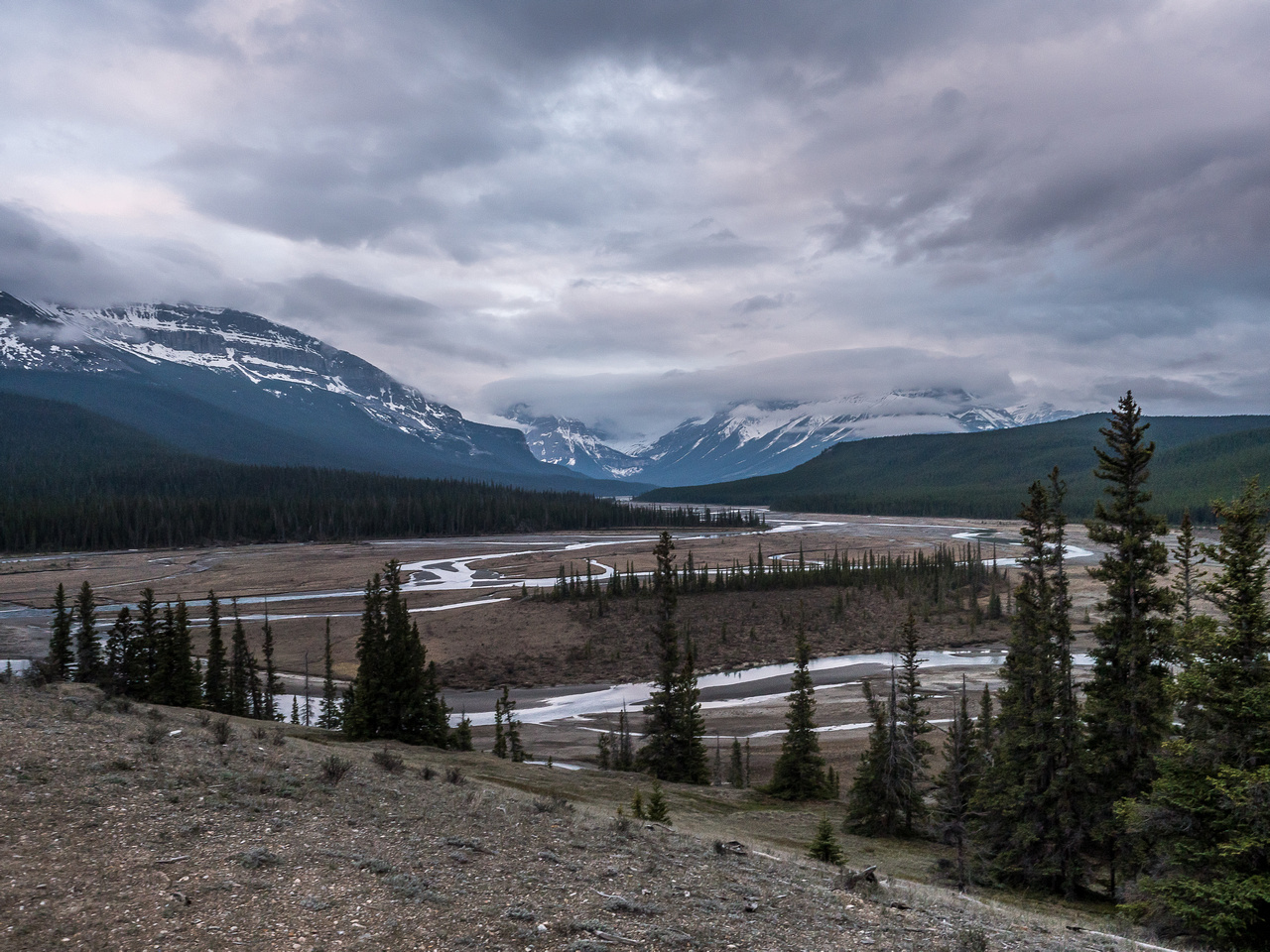 """A view from the viewpoint just down the trail from the Glacier Lake parking lot - key word here is """"down""""."""