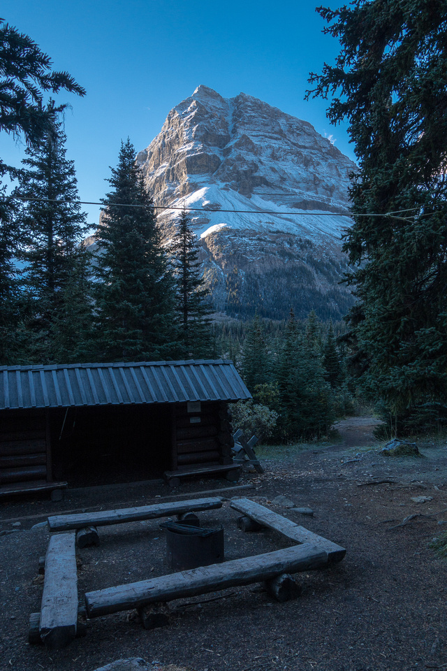 View of Rearguard Mountain from the fire pit at the Robson Pass campground.