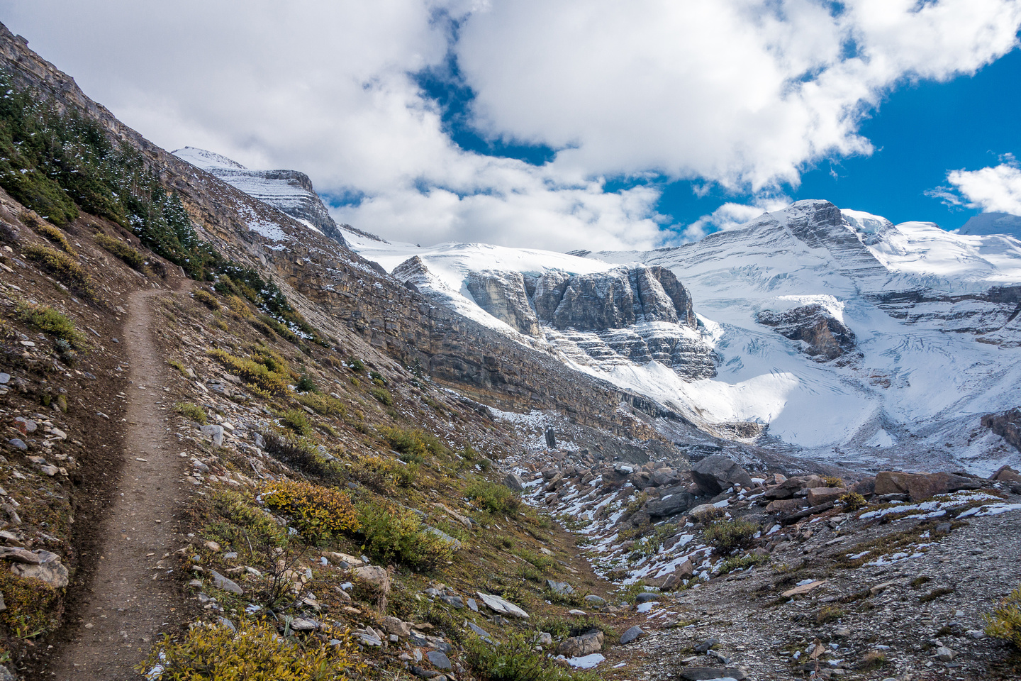 The trail is obvious and easy to hike on - this is descending the moraine on my way back to camp.