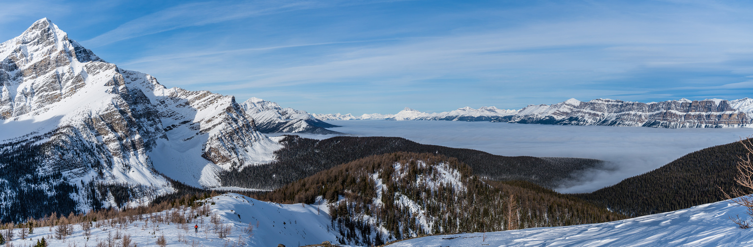 An inversion cloud layer over the Bow Valley. Storm at left, Castle at right distance.