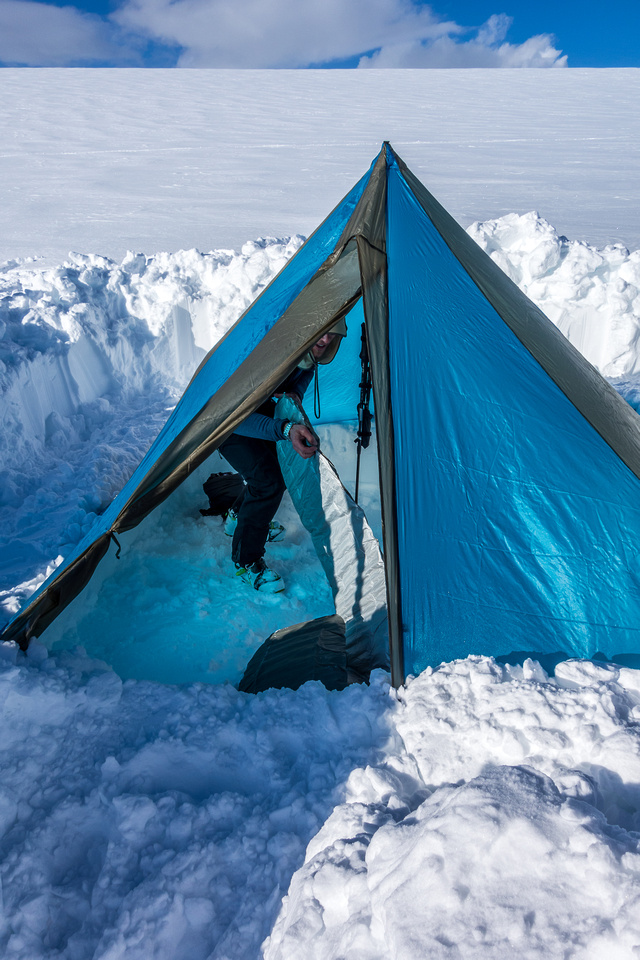 Camping on the Columbia Icefield.
