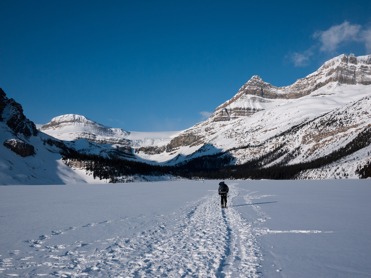 Mike crossing Bow Lake - looks like mid winter!