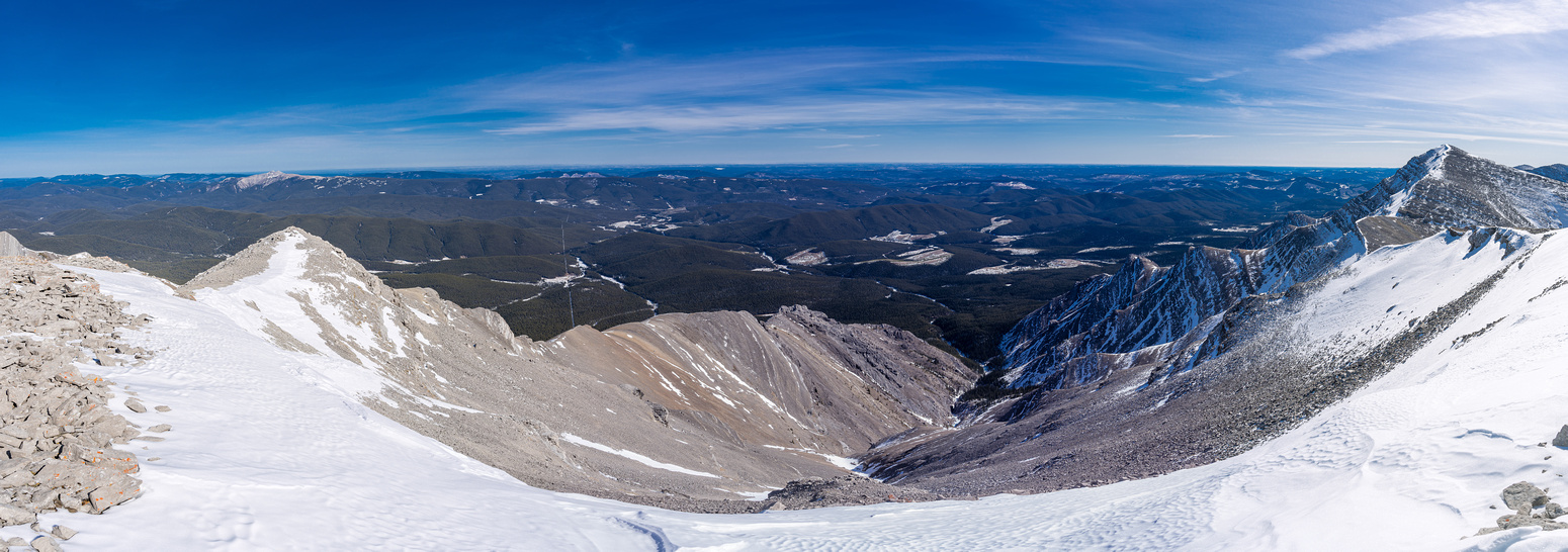 Views east off the summit to Limestone Mountain at left and Evangeline Peak at right.