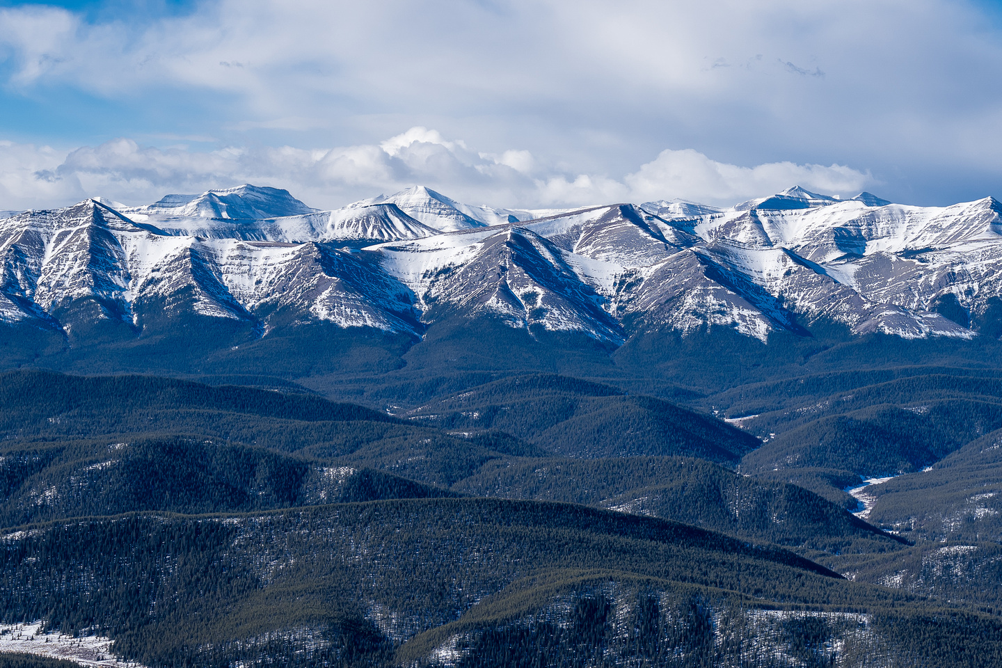 Wapiti Mountain looms in the distance over the lower front ranges.