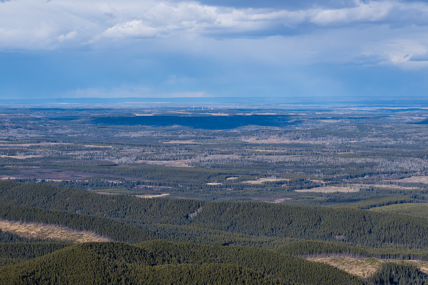 Gas plants to the east reflect Alberta's vast stores of this natural resource.