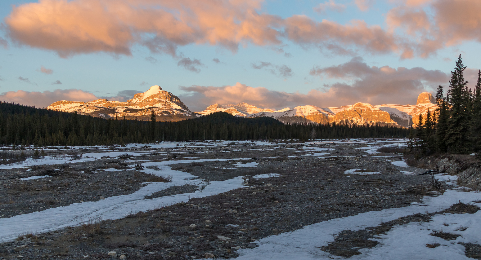 Sunrise on Black Rock, Costigan and Devil's Head (L to R) from along the washed out creek.