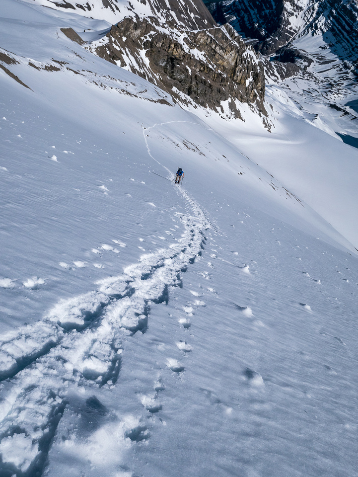 Looking back at our ascent tracks. The snow was just soft enough to give our 'shoes good purchase but not too soft to be dangerous.