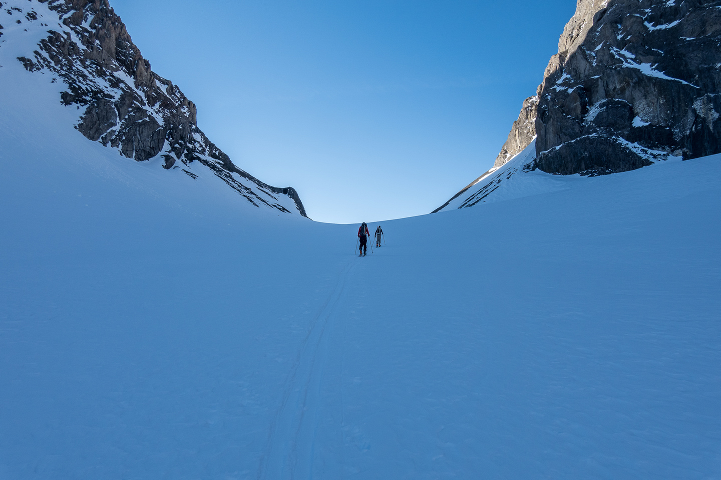 Skiing up the French Glacier. It's ~9km from the parking lot to the French col.