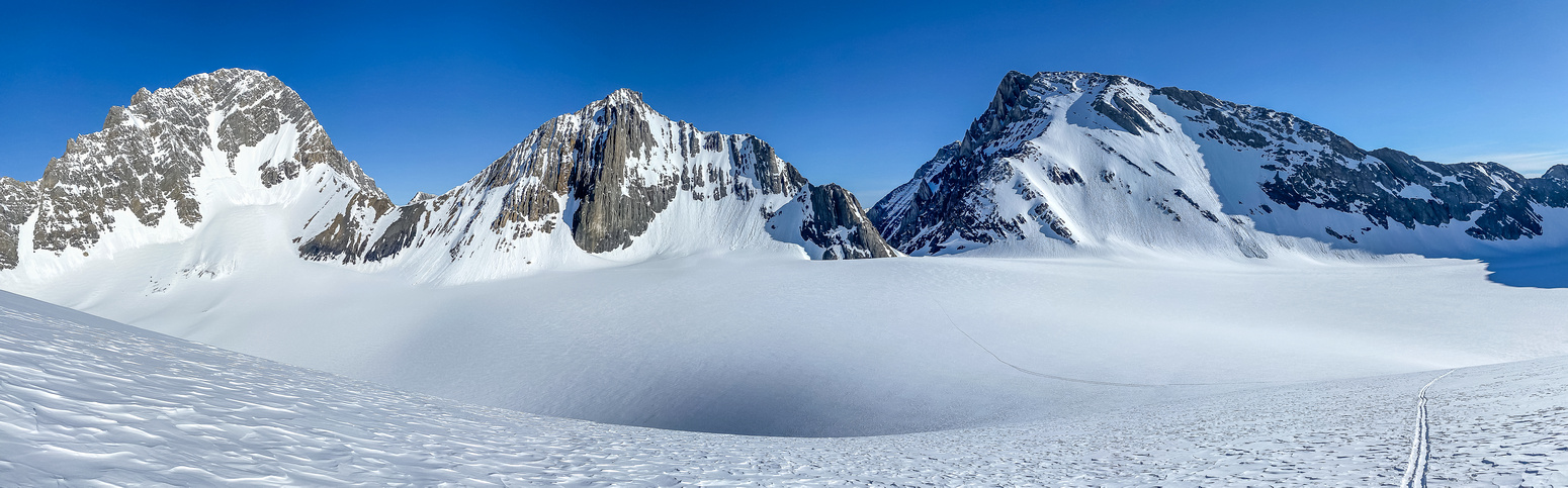 Views back over the Haig Glacier to Sir Douglas (L), Robertson (C) and French (R).