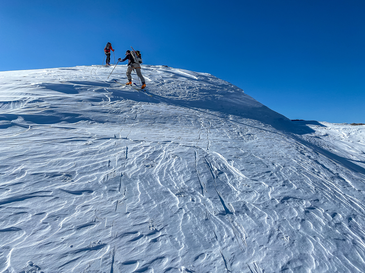 Skiing up the gentle north end of Haig Ridge.