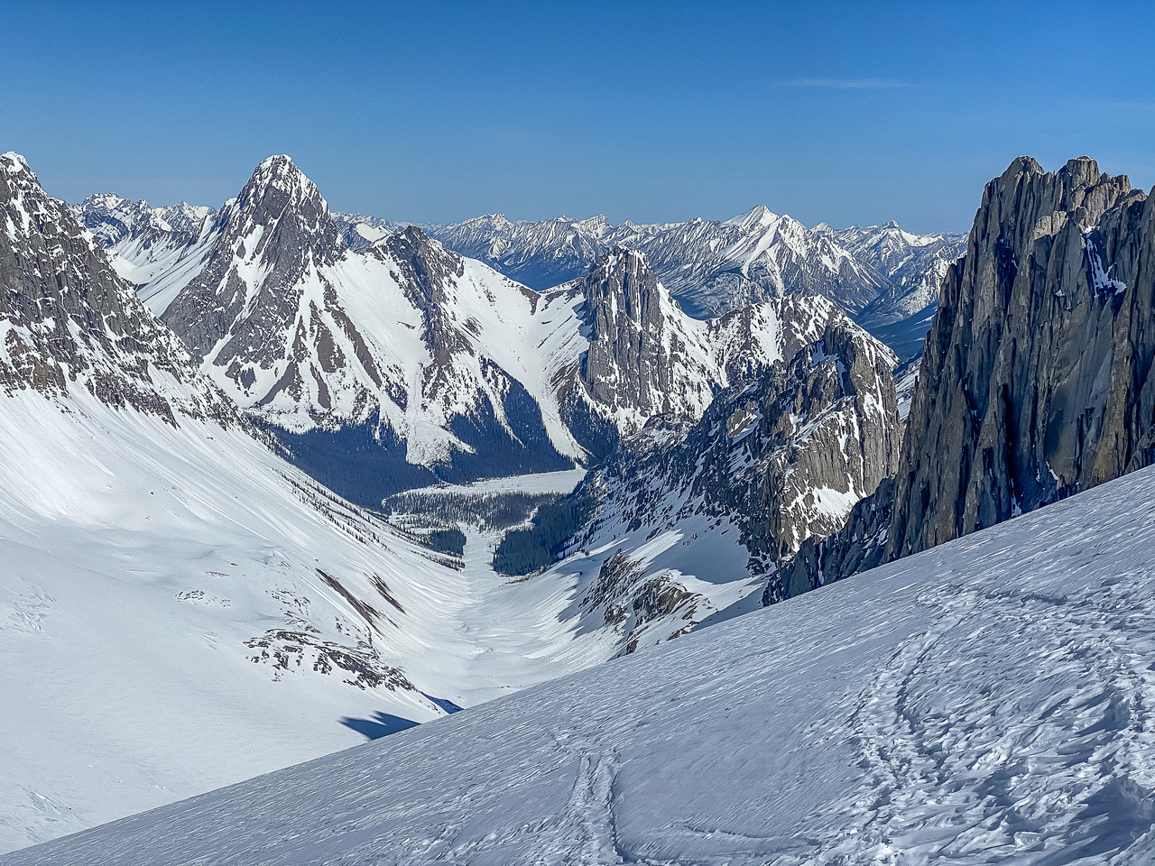 Views down the Robertson Glacier to Birdwood, Pig's Tail and Commonwealth Peak.
